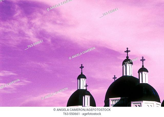 Church steeples and sky