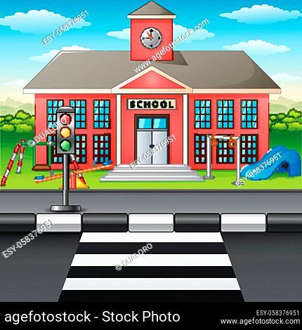 Vector illustration of Scene school building and street