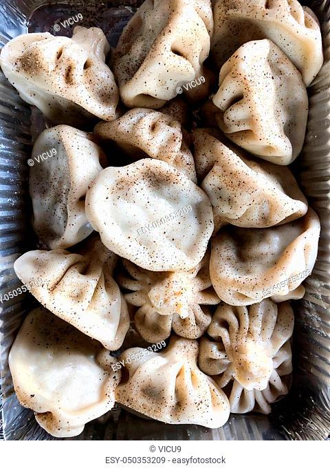 Cooked khinkali traditional Georgian dish