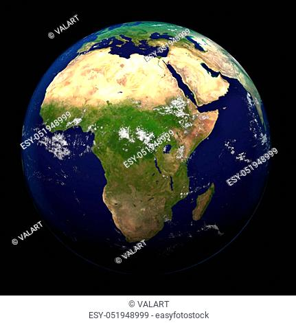 The Earth from space showing Africa 3d render illustration. Other orientations available