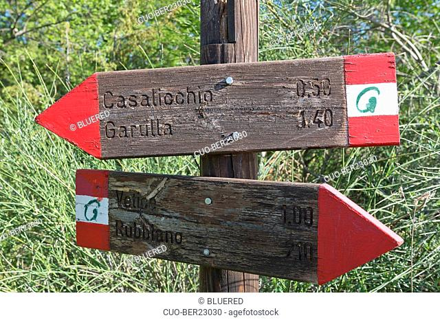 Cai signs, Sibillini Mountains National Park, Marche, Italy