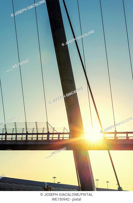 Close-up of the Harbor Drive Pedestrian Bridge during sunrise. San Diego, California, USA
