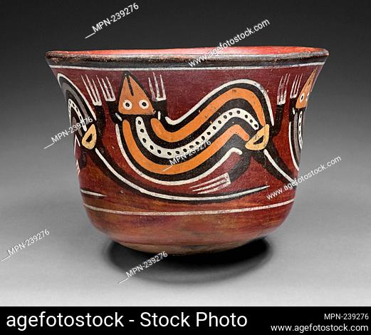 Cup Depicting Abstract Lizards - 180 B.C./A.D. 500 - Nazca South coast, Peru - Artist: Nazca, Origin: Nazca Valley, Date: 180 BC-500 AD