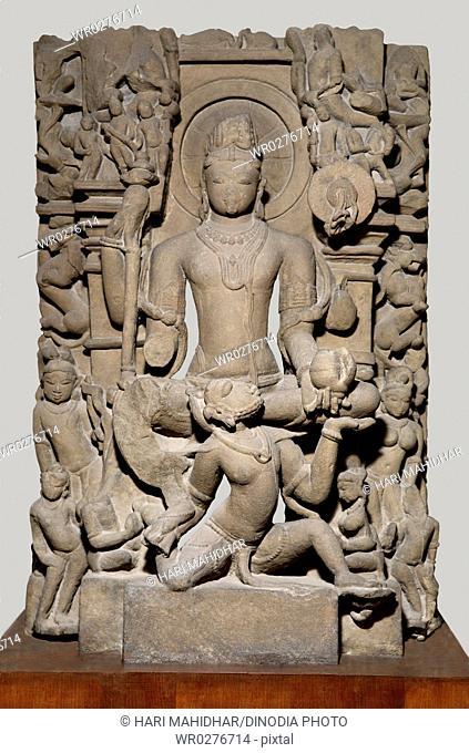 Vishnu sitting on Garuda , Vaishnav cult , Kulturian period , 11 Century AD , found in Bilahari , district Jabalpur , Madhya Pradesh , India