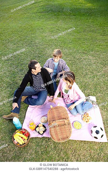 Couple enjoying picnic with their son