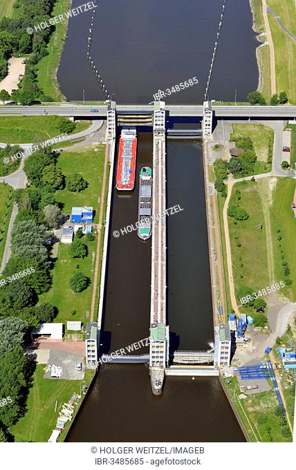 Aerial view, Geesthacht Lock on the Elbe River