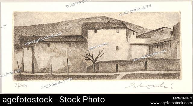Tuscan Landscape. Artist: Ennio Cocchi (Italian, 1915-1987); Medium: Etching; Dimensions: Sheet: 4 1/8 x 8 5/8 in. (10.5 x 21