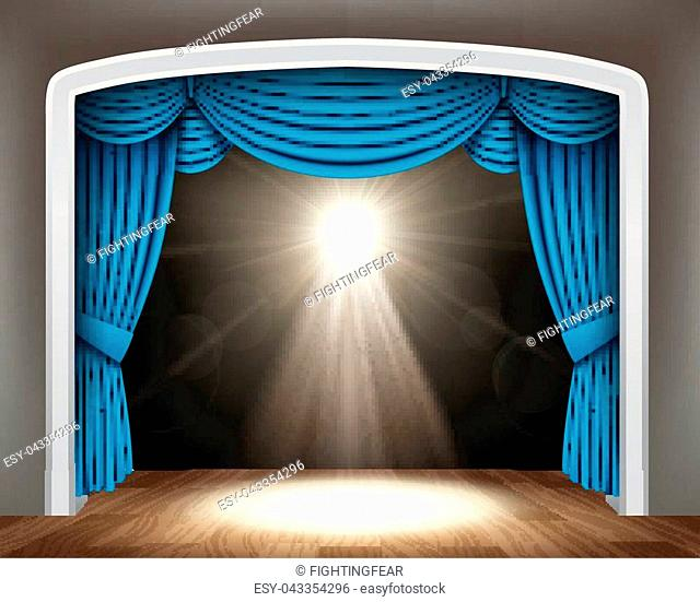 Vector Illustration Of Blue curtain of classical theater with white spotlights