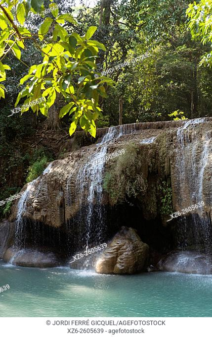 Waterfall at Erawan National Park, Kanchanaburi, Thailand, Asia