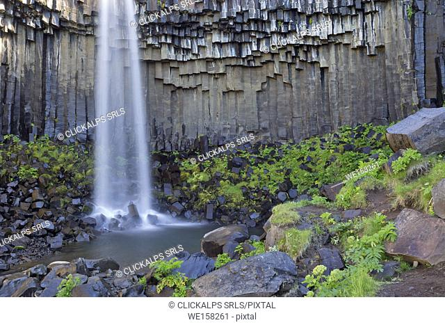 Svartifoss waterfall, Skaftafell National Park, Iceland,