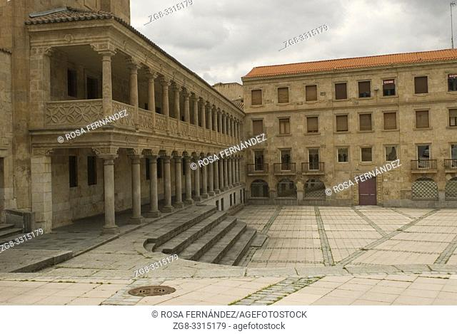 Arcaded square of San Roman with stony stair, city of Salamanca, Castilla y Leon, Spain