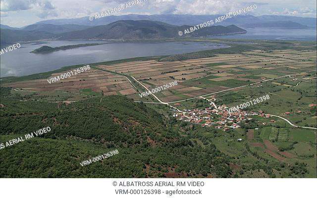 Aerial HD video of pastoral valley and lakes near Prespes