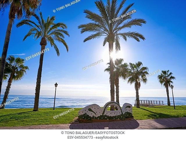 Oropesa de Mar beach mosaic bench park in Castellon of Spain
