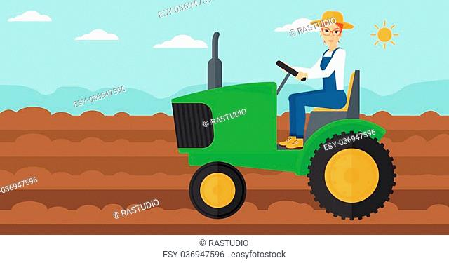 A woman driving a tractor on a background of plowed agricultural field vector flat design illustration. Horizontal layout