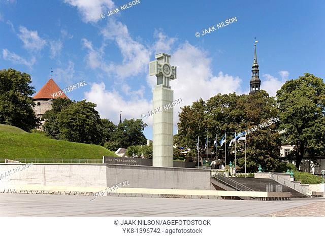 Vabaduse Väljak & Vabadussõja Võidusammas, Freedom Square and Monument to the War of Independence in Tallinn, Estonia