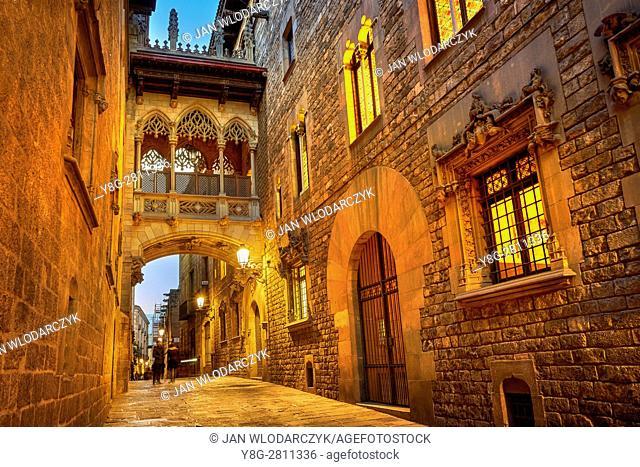 Carrer del Bisbe Street, Ghotic Quarter, Catalonia, Spain
