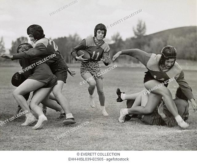 Coeds from Western State College staged their annual Powder Bowl football game. Oct. 14, 1939. Gunnison, Colorado. - (BSLOC-2015-1-221)