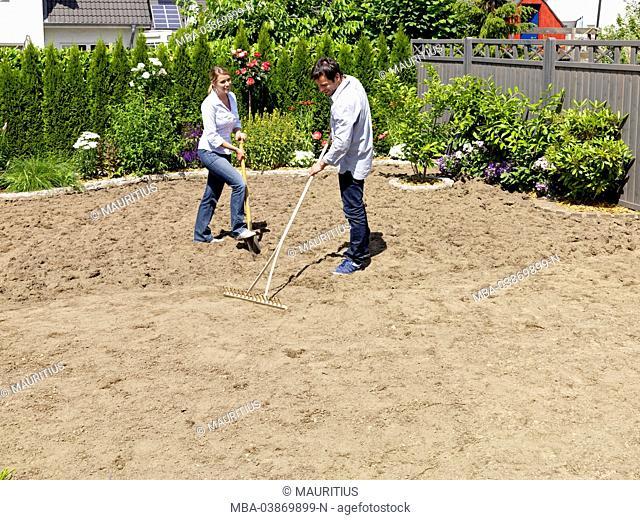 turf, lay, garden, couple, rake, rake