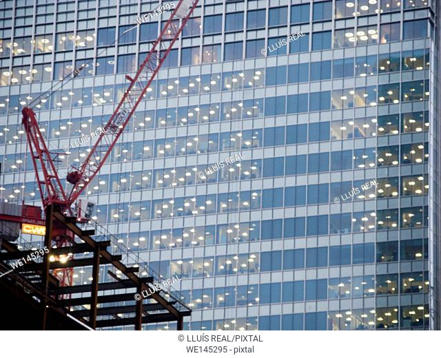 Construction crane and Office building, Canary Wharf, City of London
