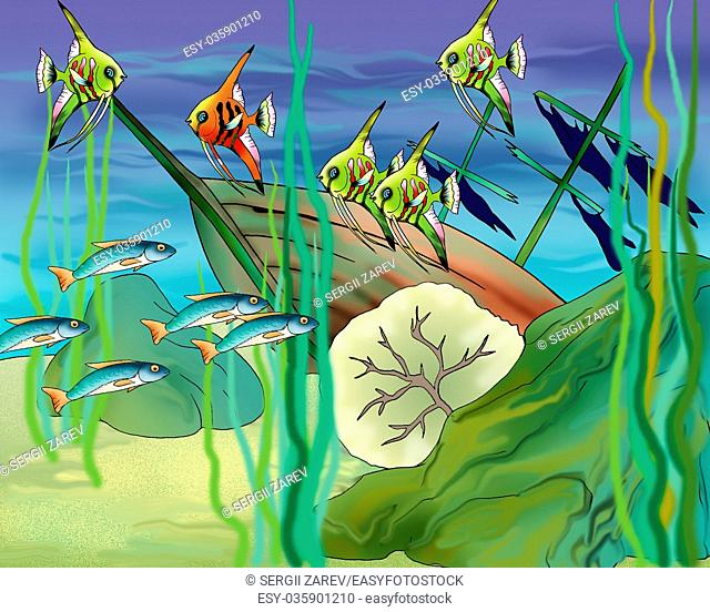 Coral Fishes Underwater. Digital Painting Background, Illustration in cartoon style character