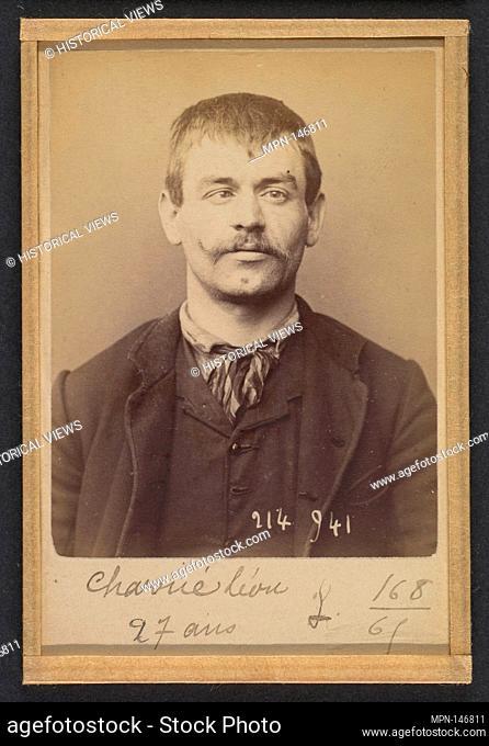 Charrié. Léon, Joseph. 27 ans, né à Paris XVllle. Garçon Plombier. Anarchiste. 1/3/94. Artist: Alphonse Bertillon (French
