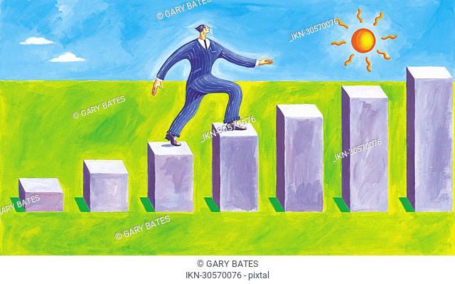 Confident businessman walking on steps of a bar chart