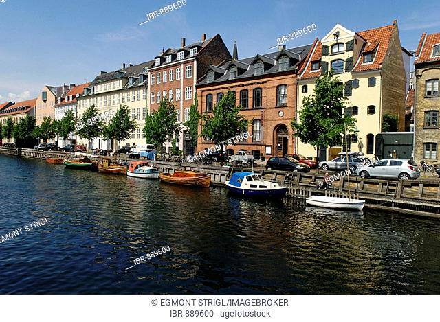 Christianshavn Canal with boats, Copenhagen, Denmark, Scandinavia, Europe