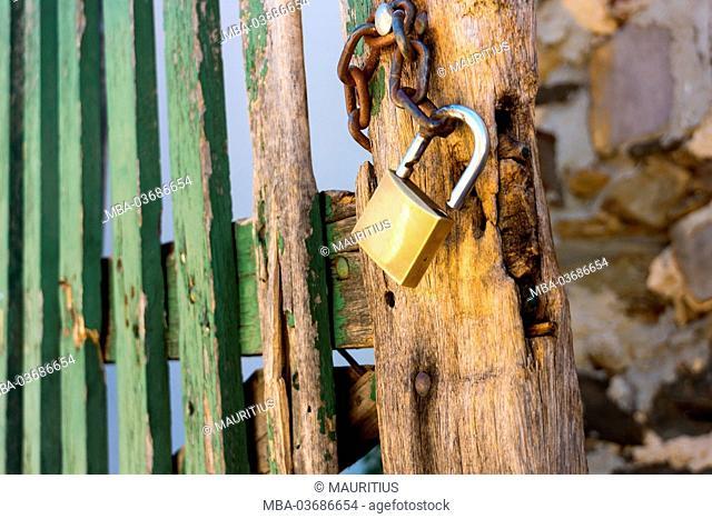 Gate, padlock, open