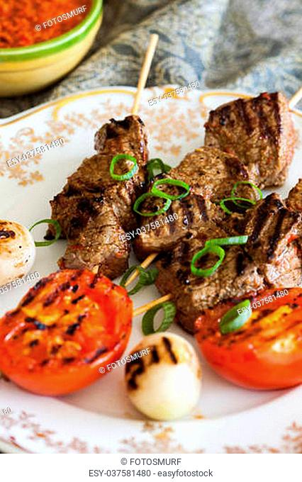Beef on skewers moroccon style