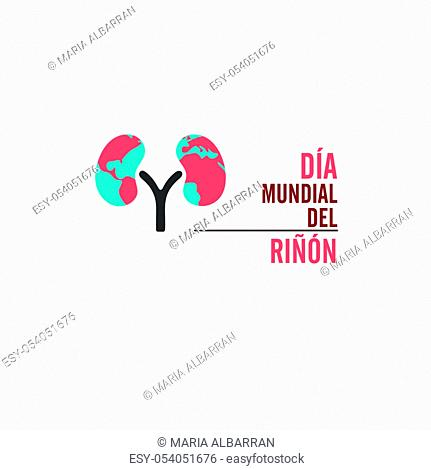 World kidney day with spanish text. Isolated vector illustration