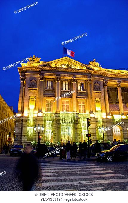 Paris, France, Deluxe Hotel, Hotel de Crillon, Place de la Concorde, Lit up with Christmas Decorations at night Monument