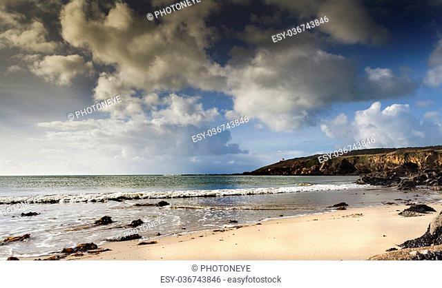 Small house coastline in France, near the atlantic ocean. Sunny day