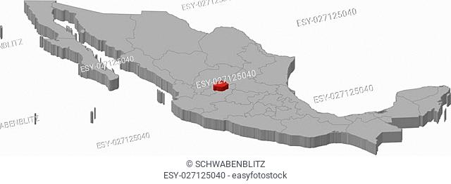 Map of Mexico as a gray piece., Aguascalientes is highlighted in red