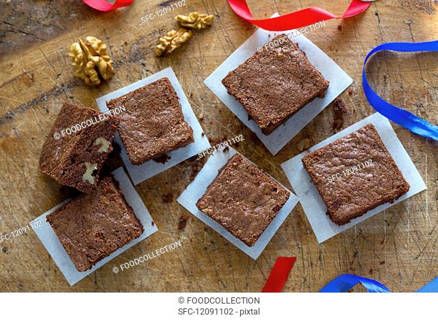 Nut brownies on a wooden board