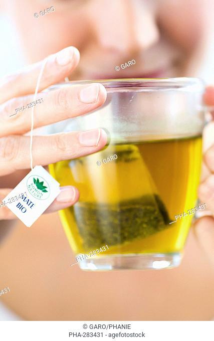 Woman drinking organic paraguay tea