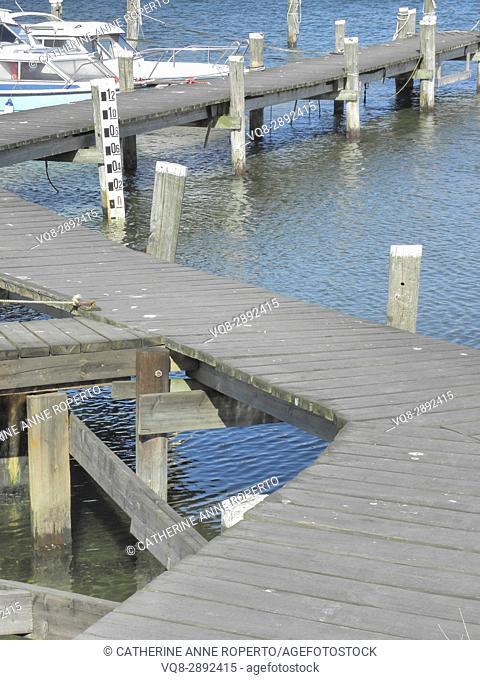 Zig zag, wooden walkway between berths at harbour side near Gothenburg, Sweden
