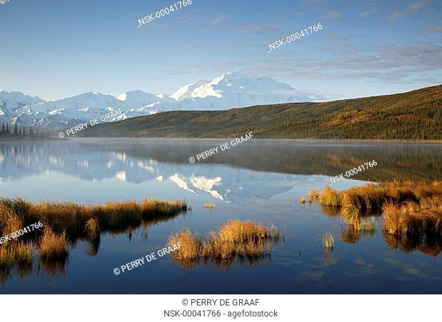 Denali, reflected in Wonder Lake, also known as Mount McKinley, its former official name, is North America's highest mountain at 20, 310 feet or 6, 190 meter