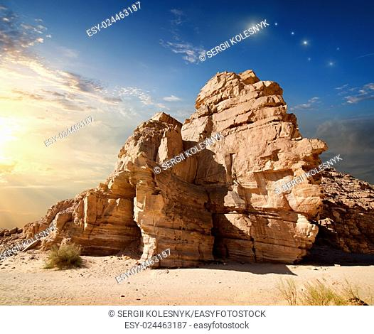 Early morning in mountains of Sinai canyon