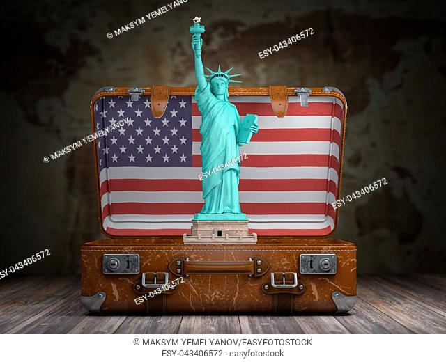 Statue of liberty and vintage suitcase with flag of USA. Travel and tourism to NY New York city and USA concept. 3d illustration