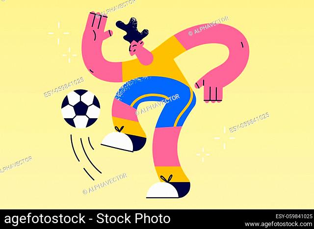 Professional soccer player and football concept. Young positive man cartoon character in sportswear kicking ball during football soccer training outdoors vector...