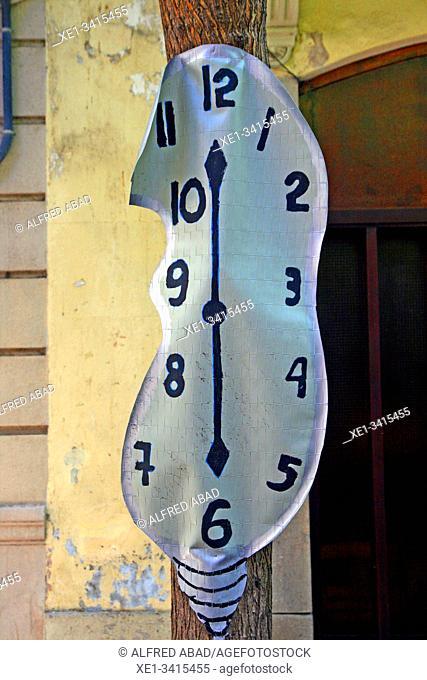 Dalinian clock, street decoration, Festes de Sants 2019, Barcelona, ??Catalonia, Spain