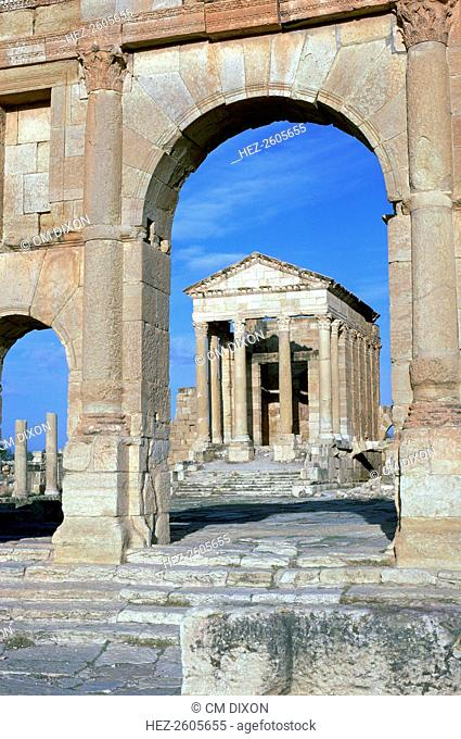 View of the Capitoline temple in Sufetula through an arch, 1st century