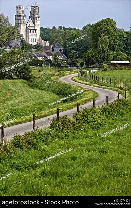 path and gr leading to Jumièges Abbey, France. view of the ruins of Jumiéges Abbey. Seine Maritime, Normandy. France. Saint-Pierre de Jumiéges Abbey is a former...