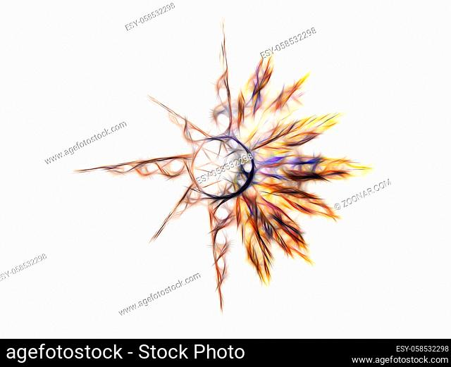Ornamental graphic in shape of a star with feathers, fractal effect