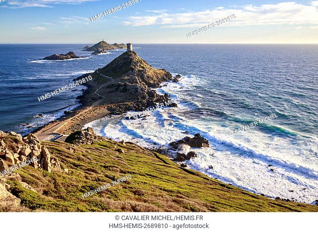 France, Corse du Sud, Gulf of Ajaccio, blow of wind on the îles Sanguinaires, the peninsula of Parata and the Tower of Parata