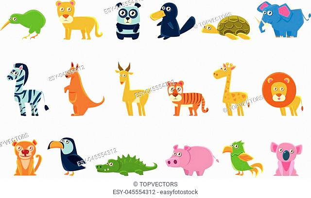 Exotic Animals Fauna Set Of Silly Childish Drawings Isolated On Background. Funny Animal Colorful Vector Stickers Set