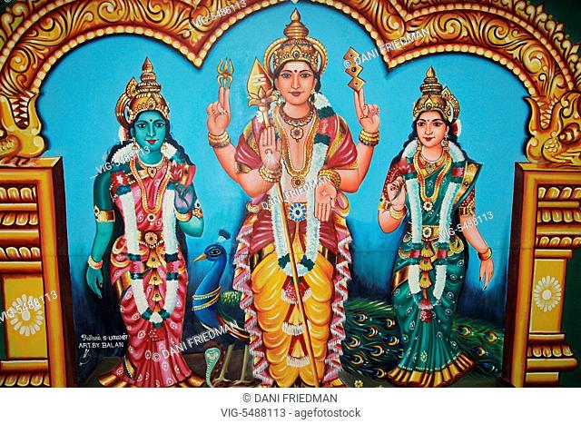CANADA, BRAMPTON, 08.08.2015, Painting depicting Lord Murugan and his two wives Goddess Valli Ammai and Goddess Theivayaanai at a Tamil Hindu temple in Brampton