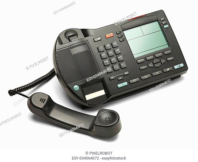 Black Office Business Phone Off The Hook Isolated on White Background