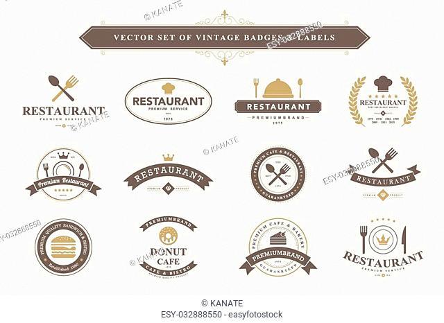 Set of vintage food badges and labels
