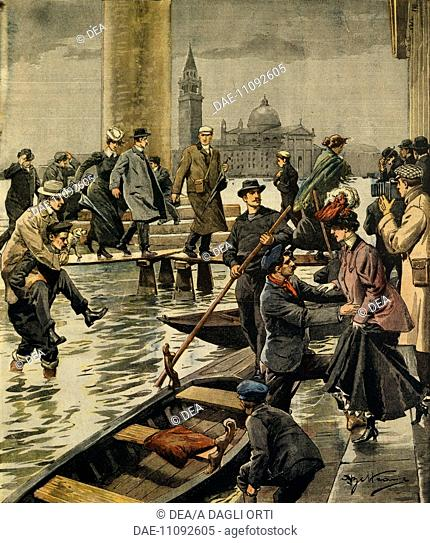 The phenomenon of high water in St. Mark's Square in Venice. Illustrator Achille Beltrame (1871-1945), from La Domenica del Corriere, 11th November 1906